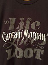 Men's T Shirt Captain Morgan Spiced Rum Life Love Loot ~ Black Size LARGE