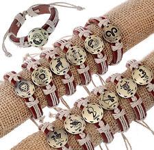 Lot 12pcs Punk Alloy ROUND Gold 12 Constellations Hemp Genuine Leather Bracelets