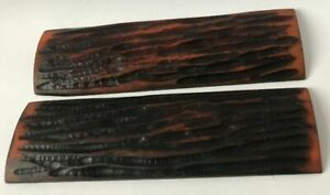 2 Amber Bone Jigged Pattern Knife Scales  5x1.5x3/8 Knife Building Handles Parts