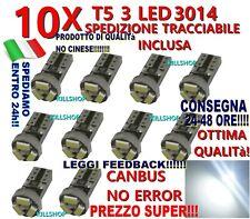 10 LAMPADE T5 3 LED 3014 SMD CANBUS NO ERROR QUADRO STRUMENTI CRUSCOTTO BIANCO