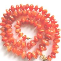 Antique / Vintage Hand Knotted Carnelian Agate Cushion Bead Necklace 22.5 Inches