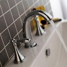 3 Hole Widespread Bathroom Basin Tap Dual Handle Chrome Vanity Mixer Faucet 167