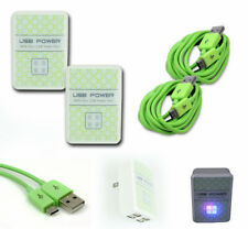 2X 4 USB PORT WALL ADAPTER+6FT CABLE CHARGER GREEN G2 OPTIMUS G PRO KINDLE FIRE
