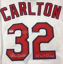 """STEVE CARLTON Signed """"67 WS Champs"""" Cardinals Jersey PSA Witness COA + Pic Proof"""
