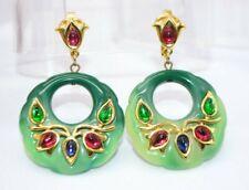 Crown Trifari Green Faux Jade Lucite Cabochon Persian Garden Clip Earrings Rare
