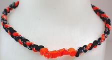 "New 20"" Custom Clasp Braided Sports Black Orange Tornado Necklace Twisted Neon"
