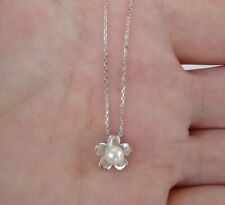 PEARL FLOWER NECKLACE PENDANT W/ ROUND WHITE PEARL / 925 STERLING SILVER / 18''