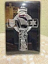 """POLICE OFFICER  FINE  PEWTER Wall CROSS 5 """"H, by  Jeweled Cross, NEW in Box!"""