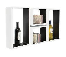 4 x Lounge Cube Regal Board Design Retro 70er Wandregal Hängeregal Schwarz Weiß