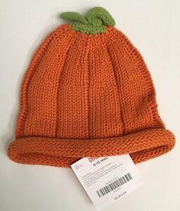 NWT Gymboree Lots of Dots Halloween 0-12 Months Orange Pumpkin Sweater Hat