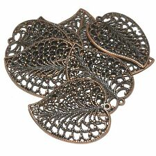 MX385 Antiqued Copper Textured Leaf 47mm Open Single-Sided Pendant 20pc
