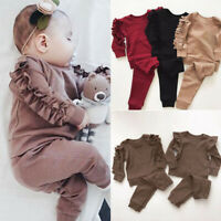 Newborn Baby Girl Long Sleeve Ruffled Tops +Long Pants Tracksuit Outfits Clothes