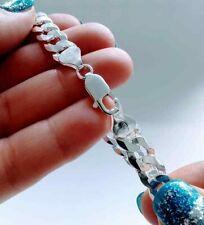 "8"" Solid 925 Italian Sterling Silver 9mm wide Curb Link Men's Chain Bracelet"