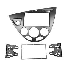 Double 2 Din Radio Fascia for Ford Fiesta Focus DVD Dash Kit Silver CD Frame
