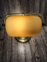 Vintage Brass Banker's Orange Amber Glass Shade Desk Lamp Pull String Gold Tone