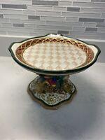 Fitz Floyd Classics Pedestal Cake Plate Christmas Bow Fruit Gold EUC