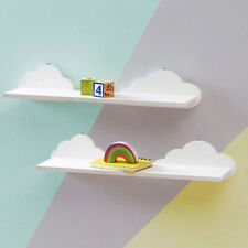 Set of 2 White Cloud Floating Wall Shelves Kids Room Bathroom Shelving MDF Shelf