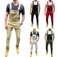Fashion Men Skinny Jeans Jumpsuit Simple Slim Fit Denim Bib Overalls Trousers