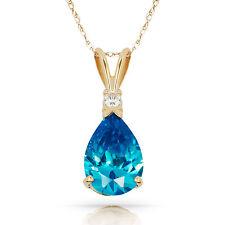 3.05CT Blue Topaz Pear Shape 2 Stone Gemstone Pendant & Necklace 14K Yellow Gold