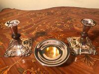 2 Vintage 24k Gold Silver Plated Candle holders 1 Royal Copenhagen Candle Holder
