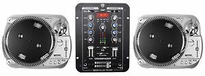 (2) Gemini TT-1100USB Belt Drive Vinyl/Digital DJ Turntables w/ USB/RCA+Mixer