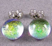 "DICHROIC Post EARRINGS 1/4"" 7mm Clear GOLD Yellow Golden Tiny Fused GLASS STUDS"