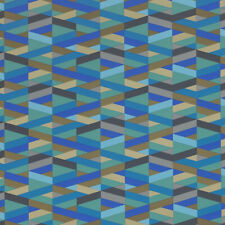 Momentum Archer Azul Turquoise tan, aqua, gray Modern Vinyl Upholstery Fabric