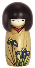 """JAPANESE 5.5""""H KOKESHI WOODEN DOLL AYAME IRIS KIMONO GIRL BY USABURO/ MADE JAPAN"""