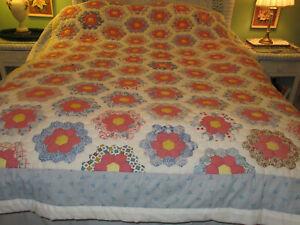 Vintage Patchwork Quilt Full Sz Grandmothers Flower Garden Quilt Feedsack Fabric