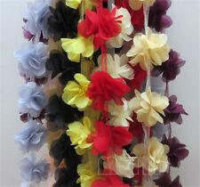 12x Flower Chiffon Lace Edge Trim Vintage Wedding Bridal Ribbon Sewing Craft DIY