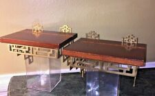 Two Mid-Century Vintage Asian Brass Wood Wall Shelf Chinoiserie