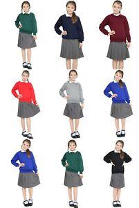 Girls Kids School Uniform Fleece Sweat Shirt 7 Colours