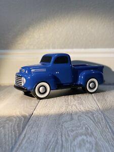 Bright Ford Blue Teleflora Ford F-1 Ceramic Pickup Truck Planter