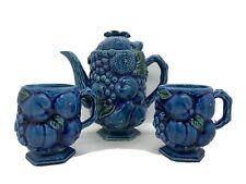 Vintage Inarco MOOD INDIGO Tea Pot & 2 Coffee/Tea Cups E-2431 Japan