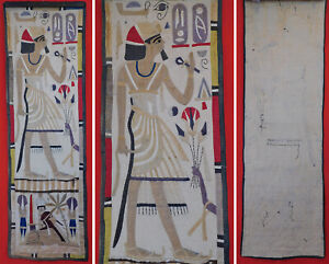 Vintage Egyptian Revival Linen Appliqued Embroidery Pharaoh Sphinx Wall Hanging