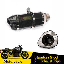 Motorcycle Glossy Carbon Fiber Color Dual-outlet Exhaust Muffler Tail Pipe Tip