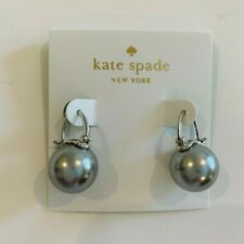 """Kate Spade New York, Gray/Silver tone Pearl hanging, """"Shine On"""" Earrings, round"""