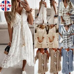 Womens Summer Mini Dress Ladies Holiday Boho Crochet Lace V Neck Swing Sundress