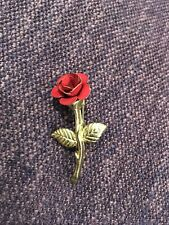 Pin for Crafts or Wear Gold Tone & Enamel Rose
