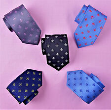 Blue Italian Fleur-De-Lis Ties Mens Black Regular 8cm Necktie Mixed Lot Bundle