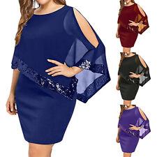 Plus Size Womens Sequin Mini Dress Ladies Summer Evening Cocktail Party Dresses