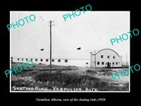 POSTCARD SIZE PHOTO OF CANADA VERMILION ALBERTA VIEW OF THE SKATING RINK c1920