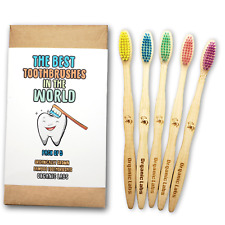 Natural Bamboo Toothbrush BPA Free Color Bristles Pack of 5 Organic Labs