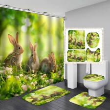Bunny Rabbit Hare Shower Curtain Bath Mat Toilet Cover Rug Bathroom Decor
