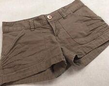 OP Women's KHAKI Brown Pocket Button Detail Casual Shorts Summer Junior Size 1