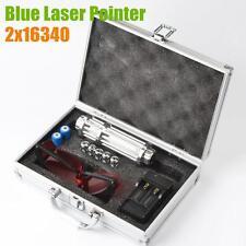 High Powerful 5000LM Blue Laser Pointer Laser Pen Astronomy Lazer Torch 2x16340