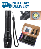 Long Range Rechargeable Flashlight 1800 Lumens Torch High Power LED Police Army