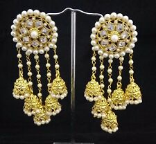 Indian Women Bridal Earrings Gold Plated Jewelry Antique Bahubali Pearl Jumka