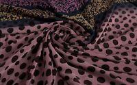 Vintage Melocotón Color Lunares Saree Puro Crepe Seda Estampado Sari 4.6m Arte