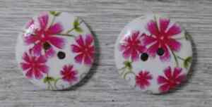 round flower wood buttons Sewing 2 Holes 3/4 inch 2Pcs pink green  #5